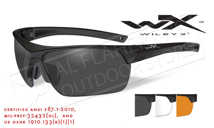 1dbb1d31705 Wiley X Guard Advanced Combo Shooting Glasses with Light Rust Smoke Grey  and Clear Lenses Matte