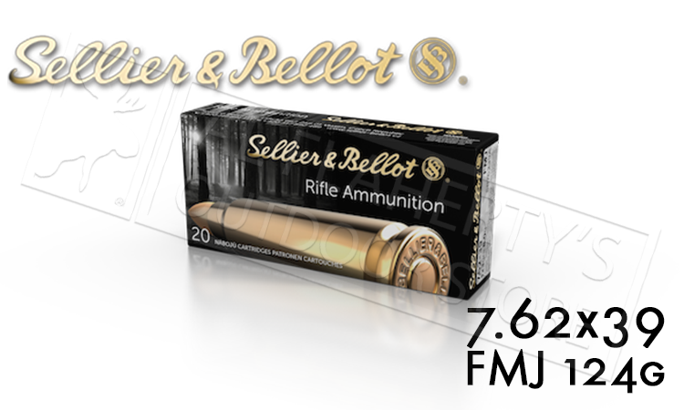 Sellier & Bellot 7.62x39 FMJ Target Ammunition, 124 Grain Box of 20 #V340835