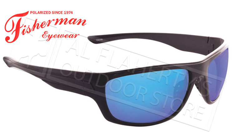 Fisherman Eyewear Striper Polarized Glasses, Gloss Black Frames with Blue Mirror Lens #96100356N