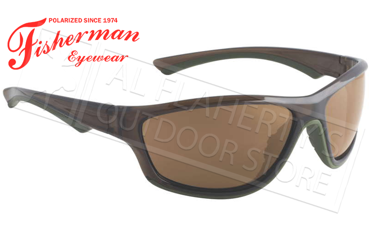 Fisherman Eyewear Rapid Polarized Glasses, Crystal Olive Frames with Brown Lens #96100725