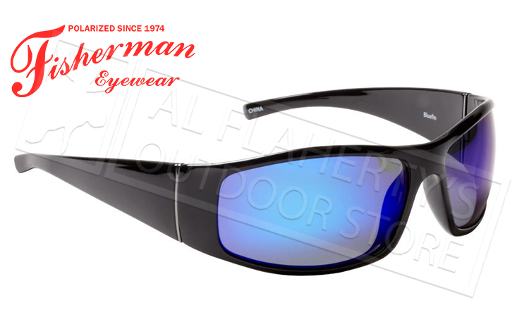 Fisherman Eyewear Bluefin Polarized Glasses, Matte Black Frame with Blue Mirror Lens #50573031