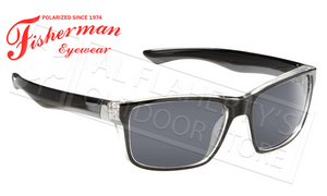 Fisherman Eyewear Cabana Polarized Glasses, Crystal Clear and Black Frame with Gray Lens #50330001