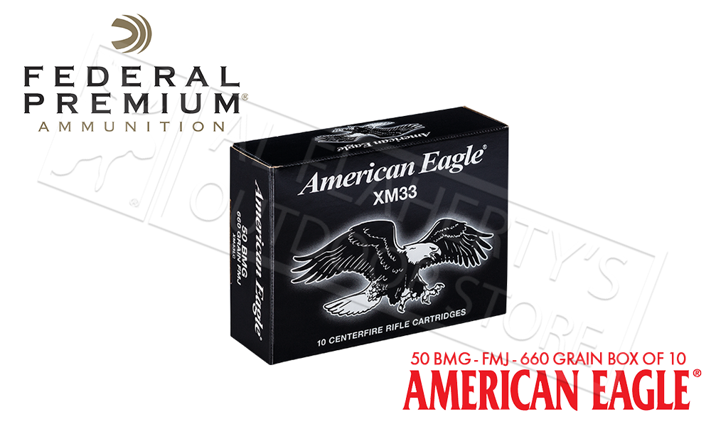 Federal American Eagle 50BMG, FMJ 660 Grain Box of 10 #XM33C