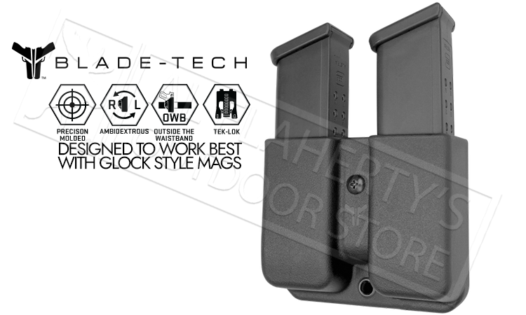 Blade-Tech Signature Double Mag Pouch for Glock 9mm and 40sw Series Magazines with TekLok Mount #AMMX0024GL940TLBLK-3