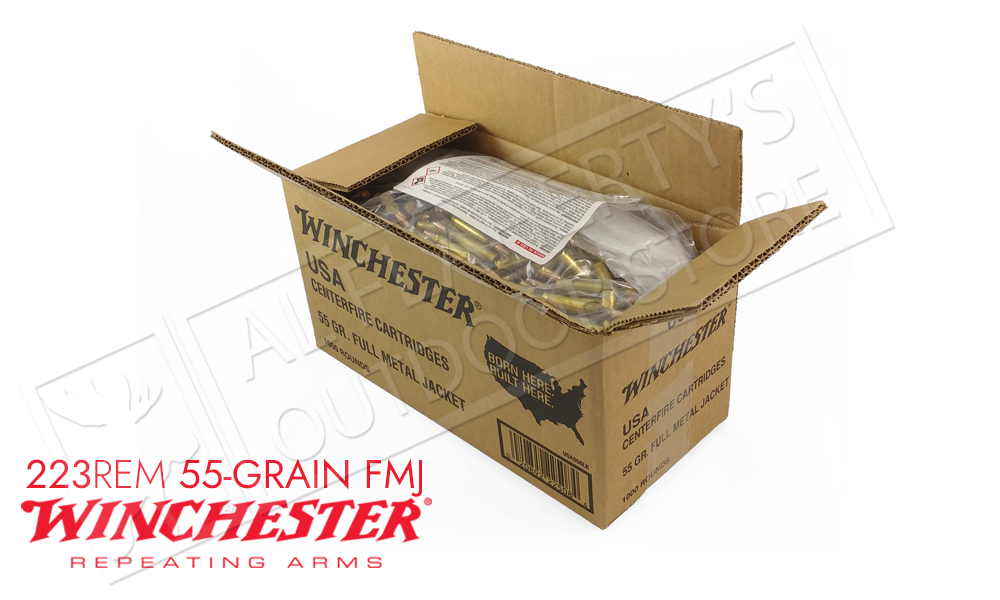 Winchester 223 Rem Bulk, 55 Grain FMJ Case of 1000 #USA223LK