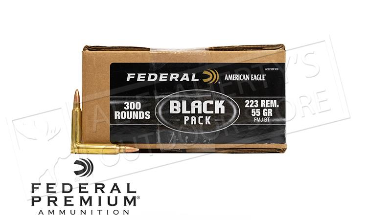 Federal 223 Rem Ammunition American Eagle Black Pack 300 Rounds #AE223BF300