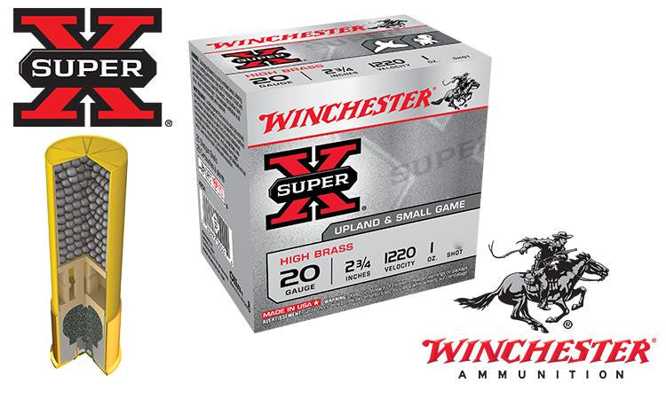 "20 Gauge - Winchester Super-X Upland Shells, 2-3/4"" #4 to #7-1/2 Shot, Boxes of 25 #X20"