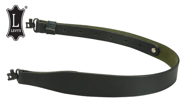 Levy's Leathers Cobra Rifle Sling with Swivels & Green Suede Backing #SN85-BLK