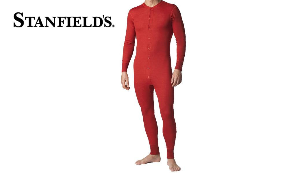 Stanfields Two Layer Wool Blend Combination, Red #8800-R