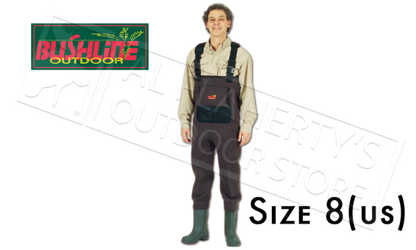 WFS Bushline Neoprene Chest Waders with Rubber Boots, Size 8 #6674