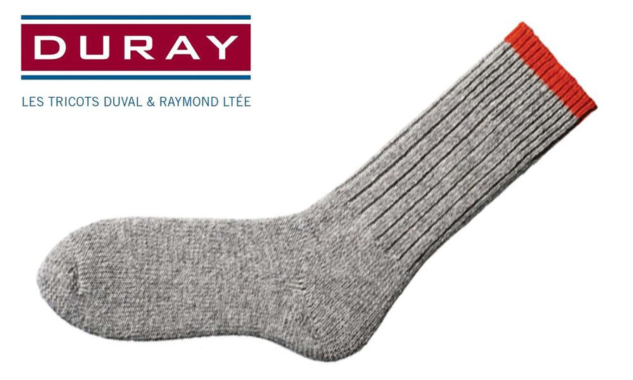 Duray Ultimate Thermal Wool Work Sock, Natural Grey with Red, Size Large #1165