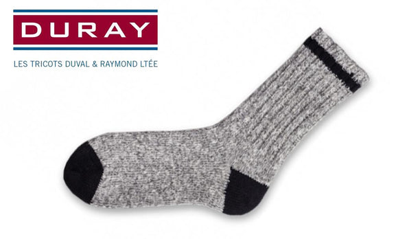 Duray Classic Walker Cotton Sock, Natural Grey and Black, Size Large #1564