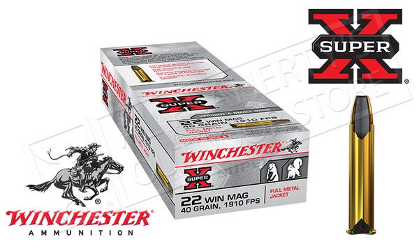 Winchester 22WMR Super X, FMJ 40 Grain Box of 50 #X22M