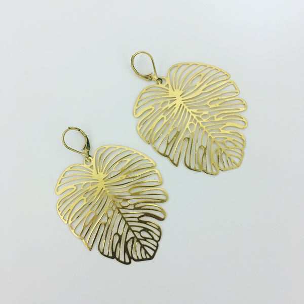 Banana leaf earrings.