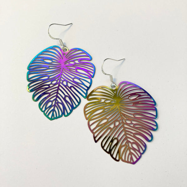 Rainbow banana leaf earrings