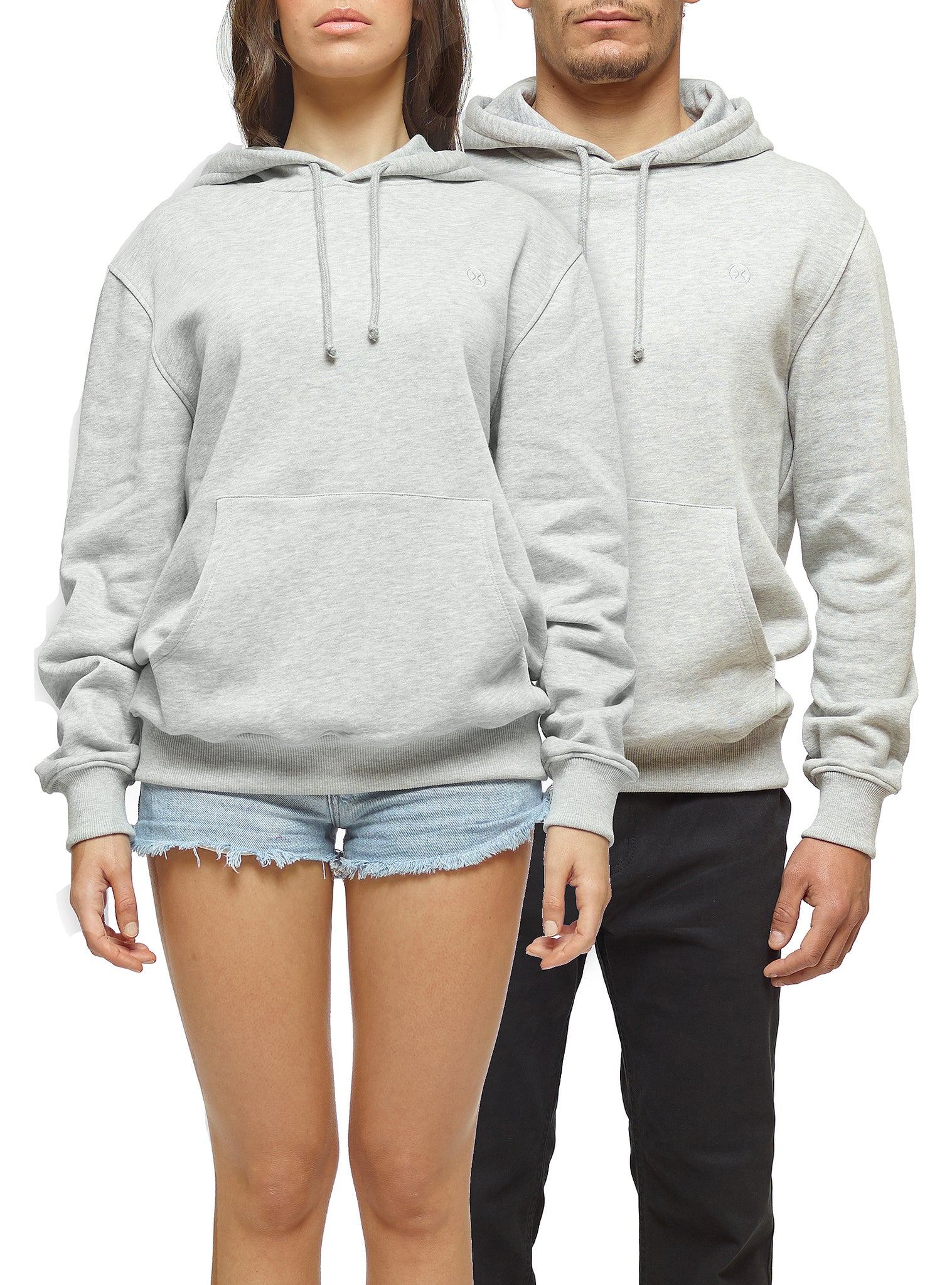 Embroidery Sweat Hoodie Grey