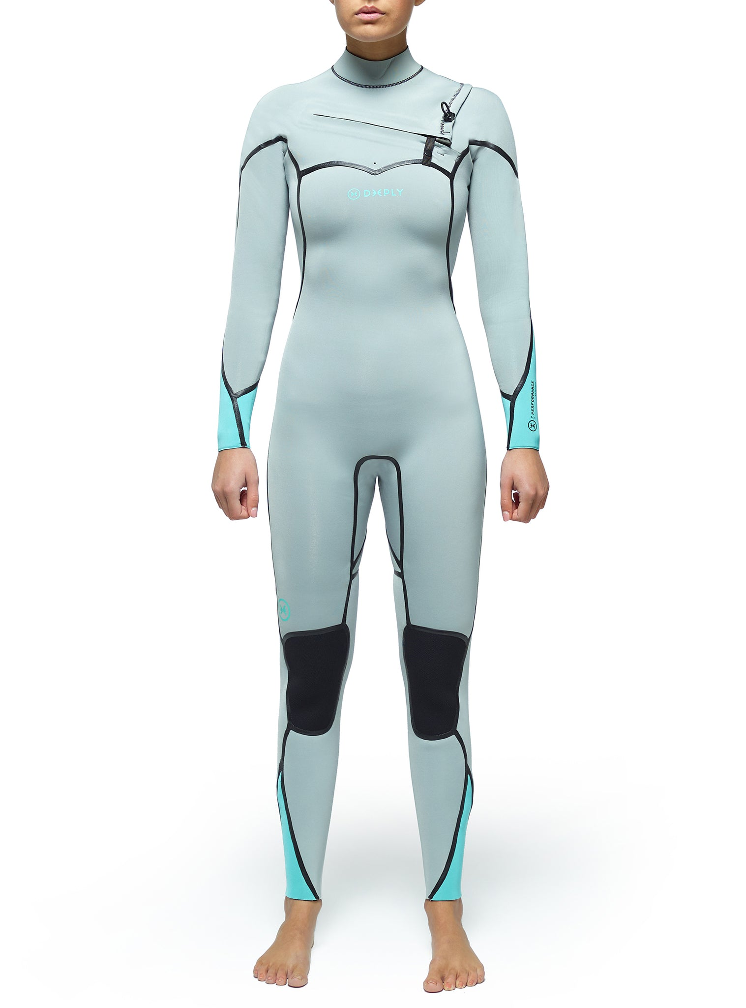 Wetsuit Woman Performance 3/2 Chest Zip Light Grey