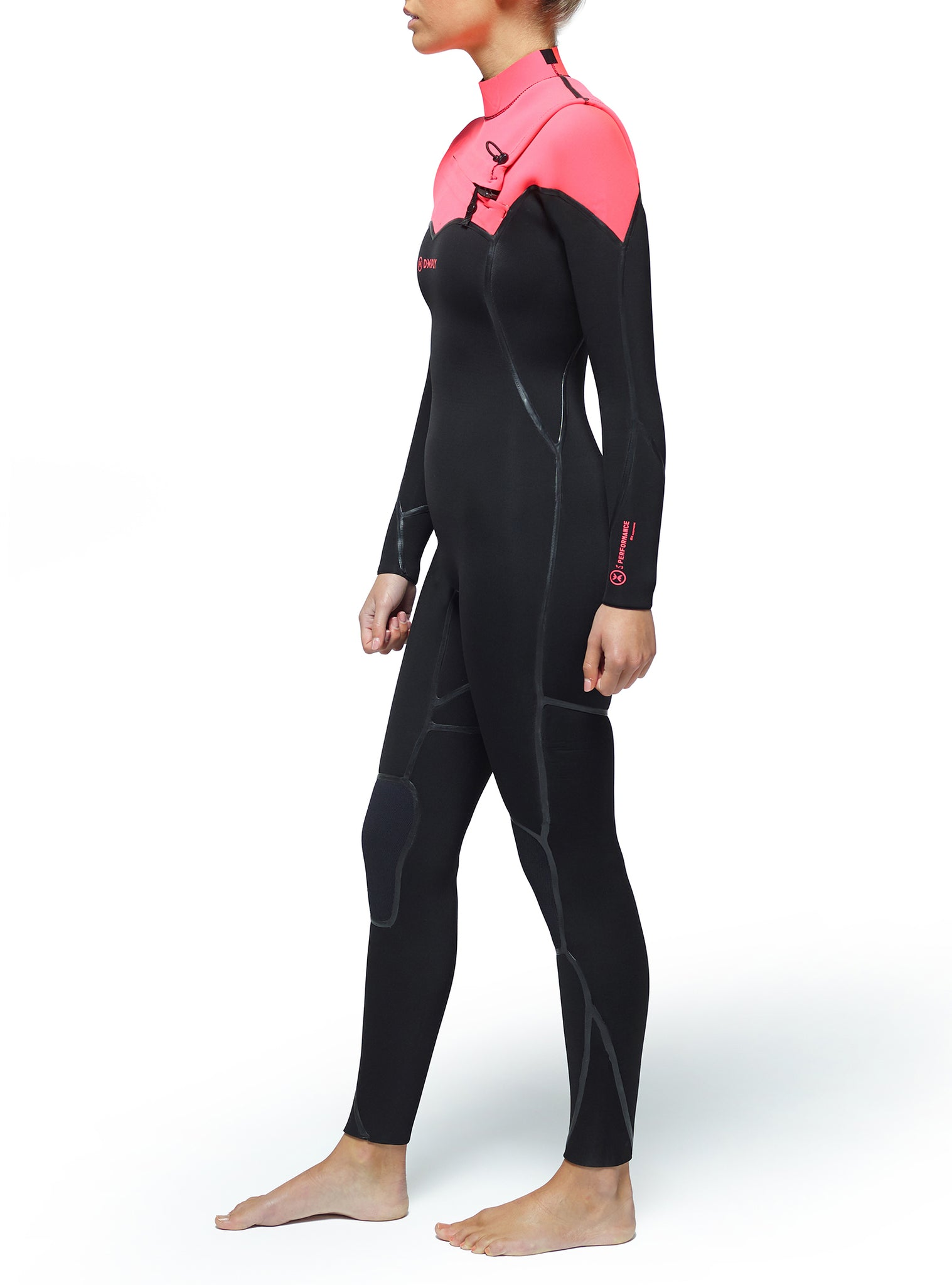 Wetsuit Woman Performance 4/3 Chest Zip Pink