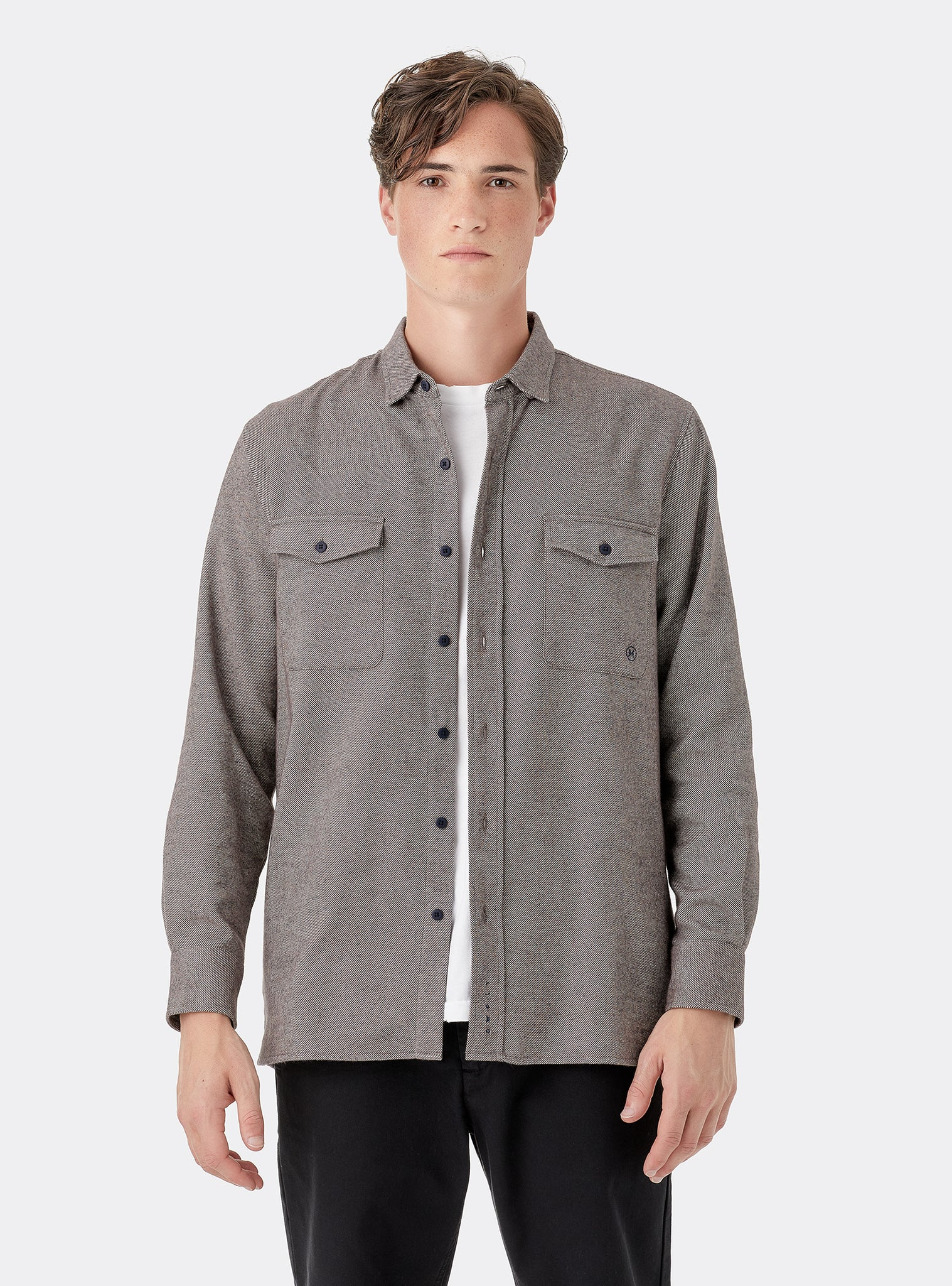 Texture I Shirt Longsleeve Brown