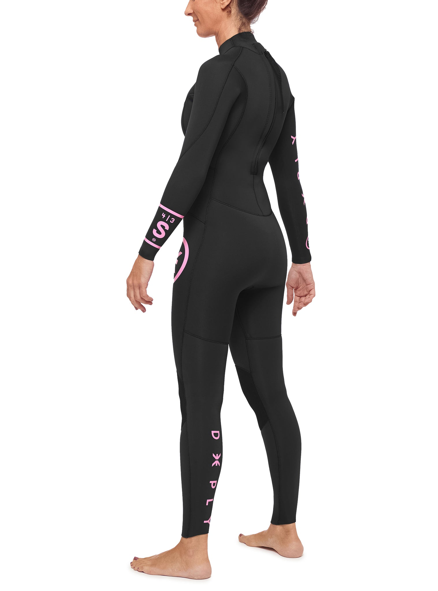 Wetsuit Woman Surfschool 4/3 Back Zip Black
