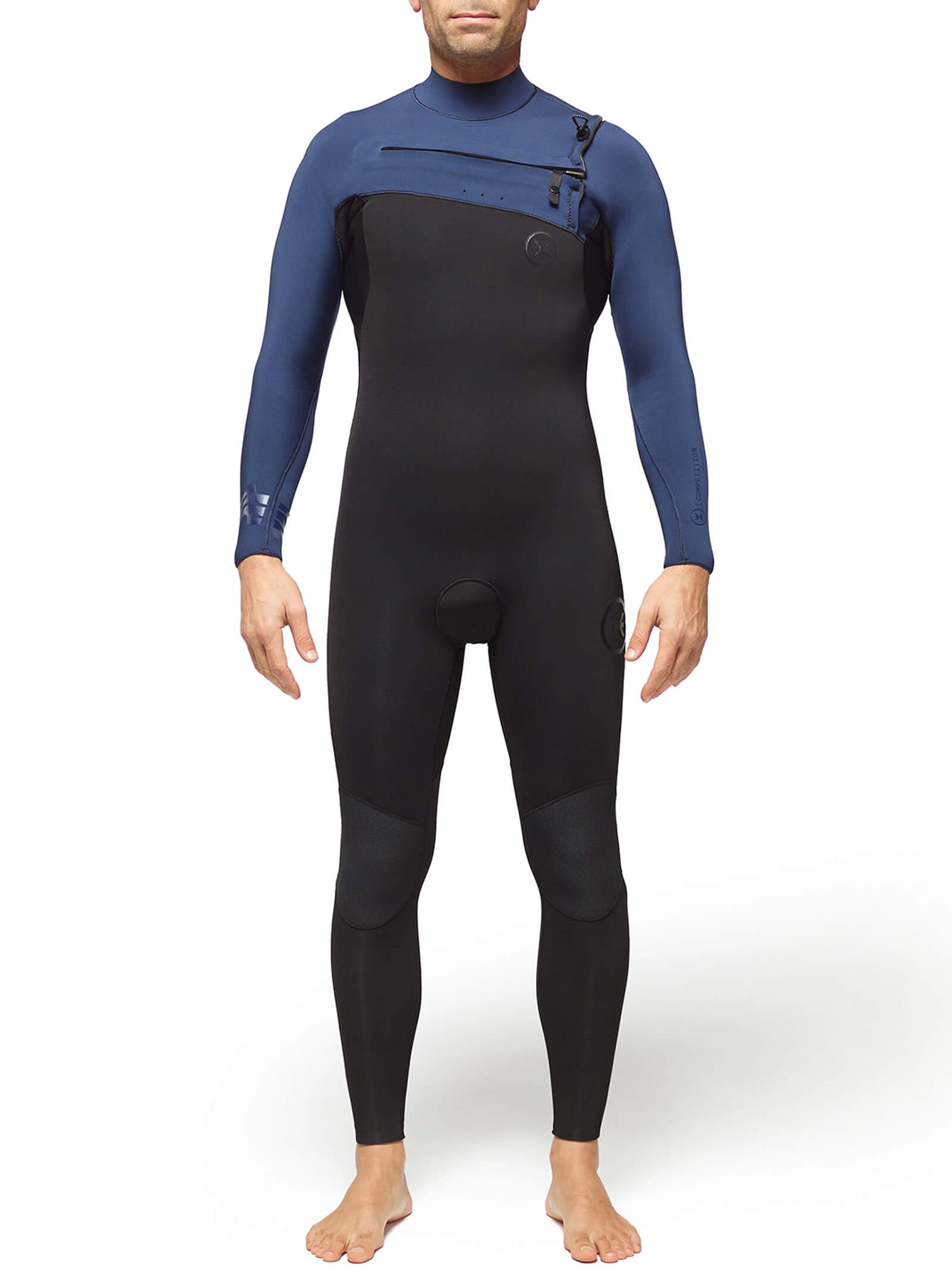 Wetsuit Man Competition 4/3 Chest Zip Blue
