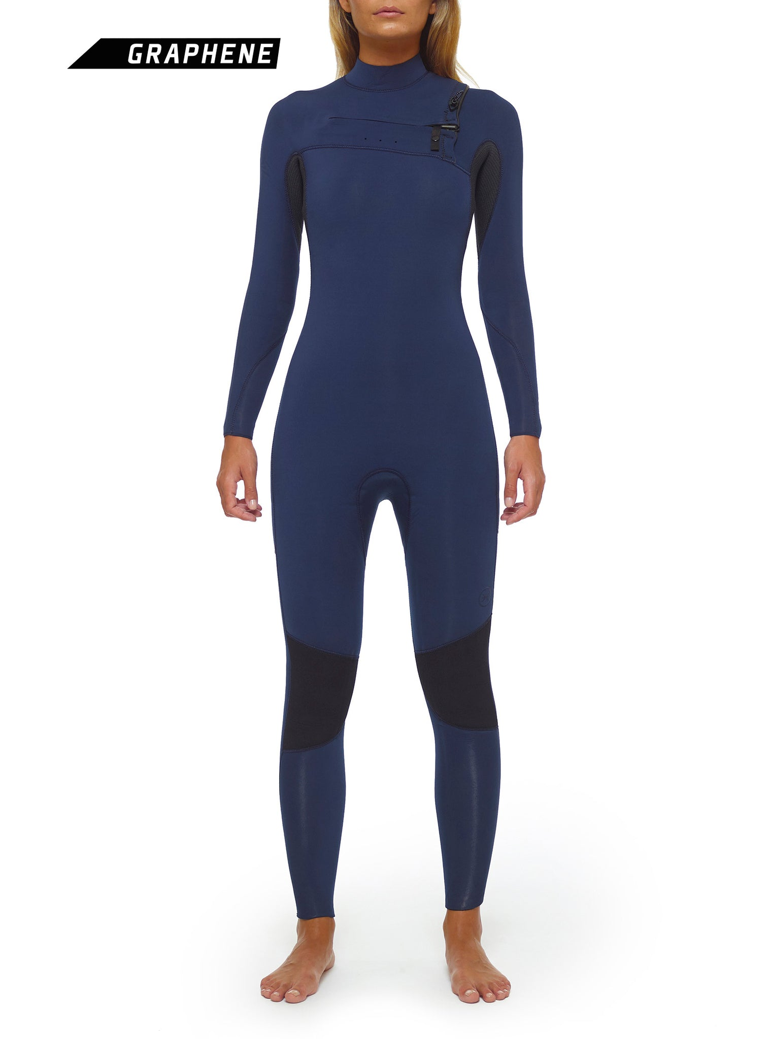 Wetsuit Woman Competition 4/3 Chest Zip Navy Blue