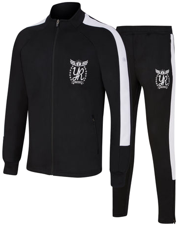 Yung'n'rich Funnel Neck Contrast Panel Black Tracksuit White Pin Stripe Apparel & Accessories > Clothing > Tracksuit > Skinny Fit > Fashion Tracksuit > Skinny Slim > Fit Joggers
