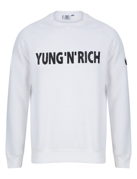 YUNGNRICH JUMPER SWEATER WHITE BLACK WORDING Apparel & Accessories > Clothing > hoodie > jumper > sweater