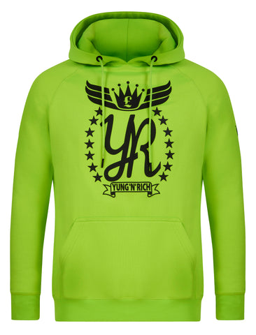 Yungnrich illuminous Green Hoodie Jumper Black Logo  Apparel & Accessories > Clothing > hoodie > jumper