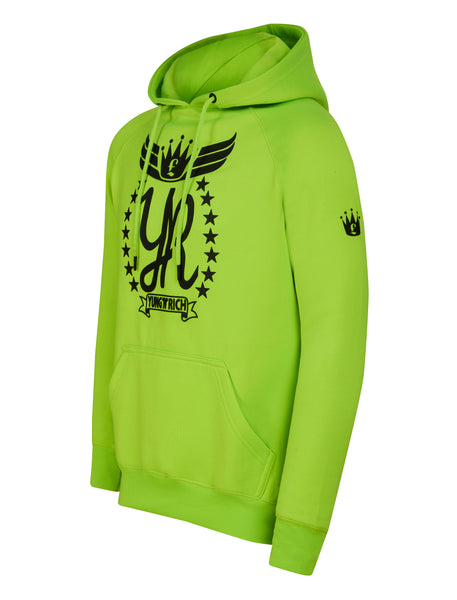 side view crown on left arm Yungnrich illuminous Green Hoodie Jumper Black Logo  Apparel & Accessories > Clothing > hoodie > jumper