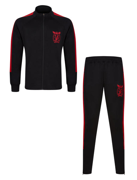 YUNG'N'RICH FUNNEL NECK CONTRAST PANEL BLACK TRACKSUIT RED PIN STRIPE Skinny Fit / Fashion Tracksuit / Skinny Slim / Fit Joggers