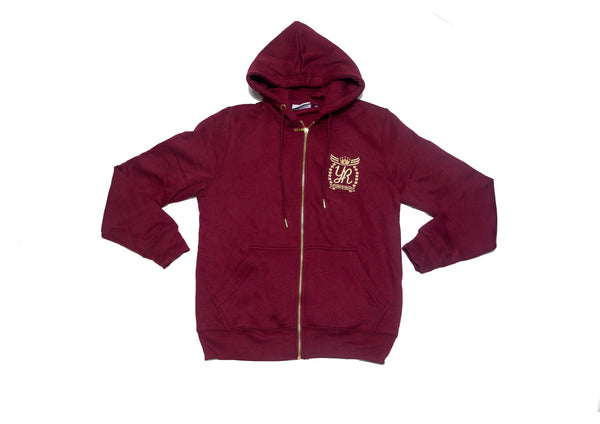 YUNG'N'RICH | GOLD EDITION BURGUNDY WOMENS  TRACKSUIT  HOODIE