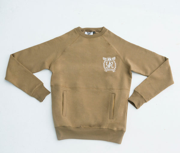 YUNG'N'RICH | CREW NECK KHAKI SLIMFIT MEN TRACKSUIT JUMPER SWEATER