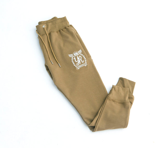 YUNG'N'RICH | CREW NECK KHAKI SLIMFIT MEN TRACKSUIT BOTTOM
