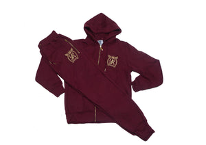 YUNGNRICH | GOLD EDITION BURGUNDY WOMENS TRACKSUIT