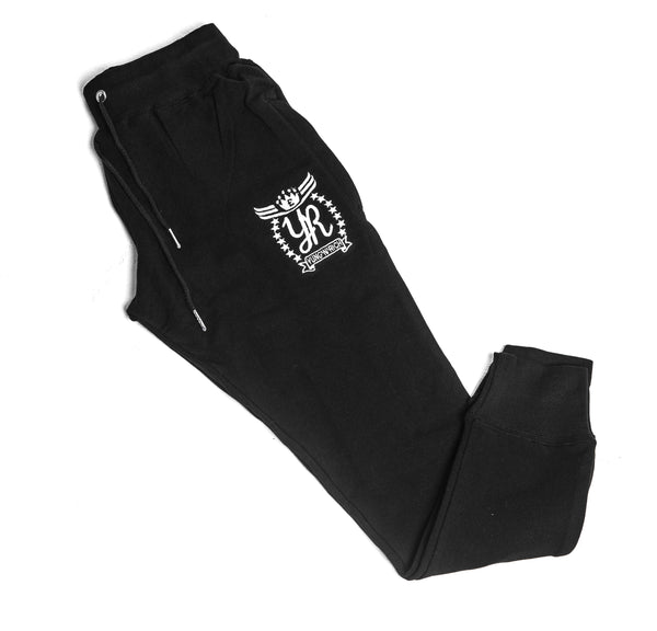 YUNG'N'RICH CREW NECK BLACK SLIMFIT TRACKSUIT BOTTOMS