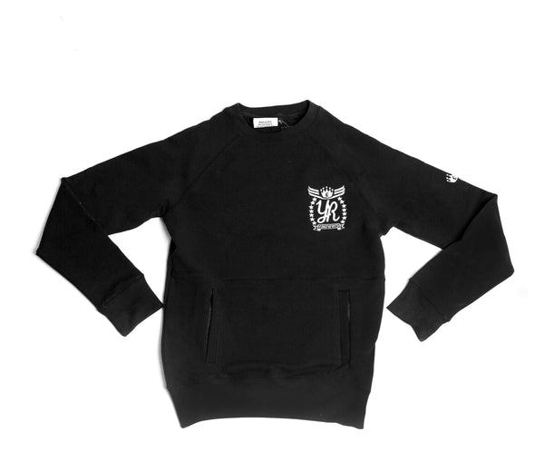 YUNG'N'RICH | CREW NECK BLACK SLIMFIT WOMENS TRACKSUIT JUMPER