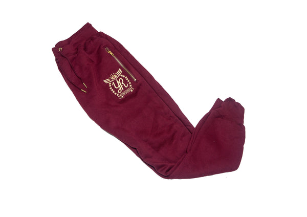YUNG'N'RICH | GOLD EDITION BURGUNDY TRACKSUIT BOTTOMS