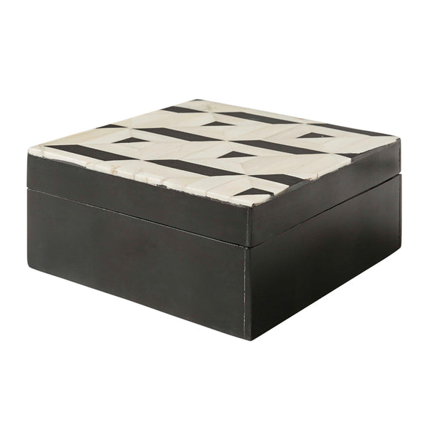 Triangular Black and White Pattern Bone Inlay Box