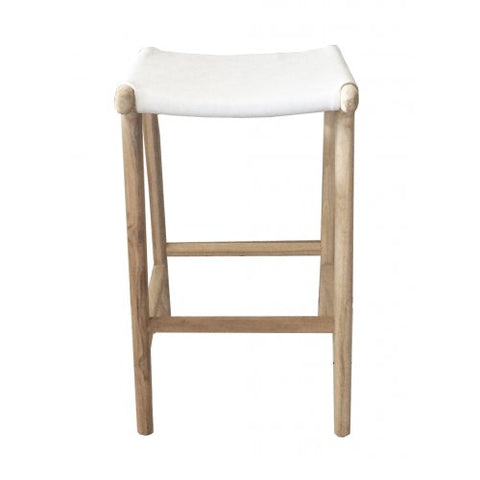 White Leather and Teak Barstool