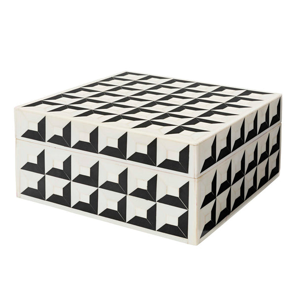 Black White Large Square Bone Inlay Box