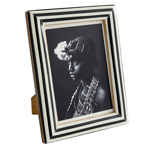 Black and White Striped Bone Frame 5x7