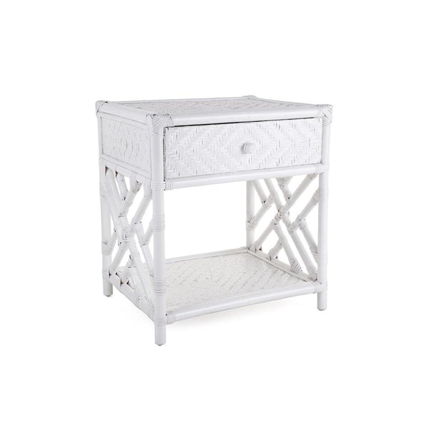 Rattan Bedside Table White