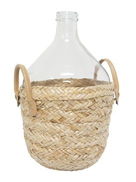 Woven Glass Bottle Leather Handle
