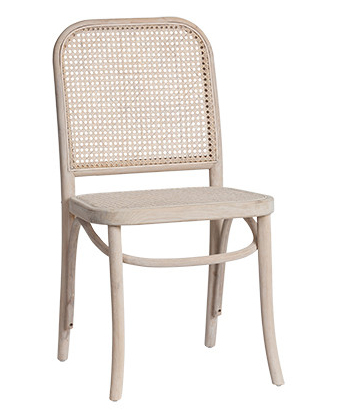 Light Oak and Rattan Dining Chair