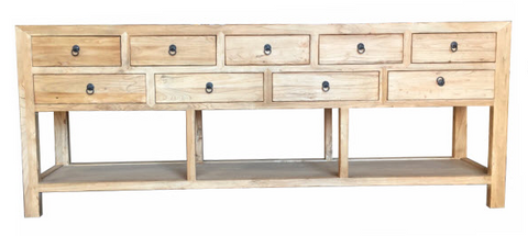 Recycled Elm 9 Drawer Side Table