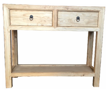 Recycled Elm 2 Drawer With base Shelf