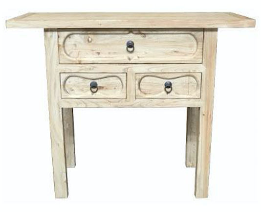 Elm Orient 3 Drawer Hall Table 105cm