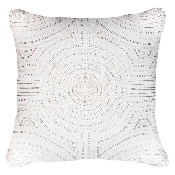 Dreamtime Aboriginal Dot Natural and White Lounge Cushion