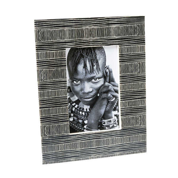 Black Bone Tribal Lined Frame 4x6